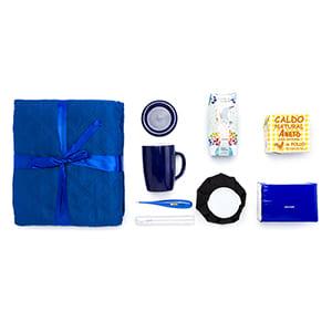"""""""Gute Besserung"""" Blaues Geschenkset personalisiert. Einfarbiger Druck"""