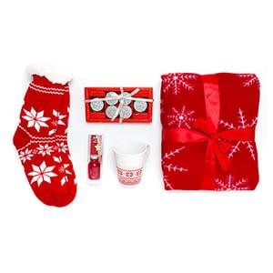 """Personalisiertes """"Weihnachten"""" Rotes Geschenkset. Einfarbiger Druck"""