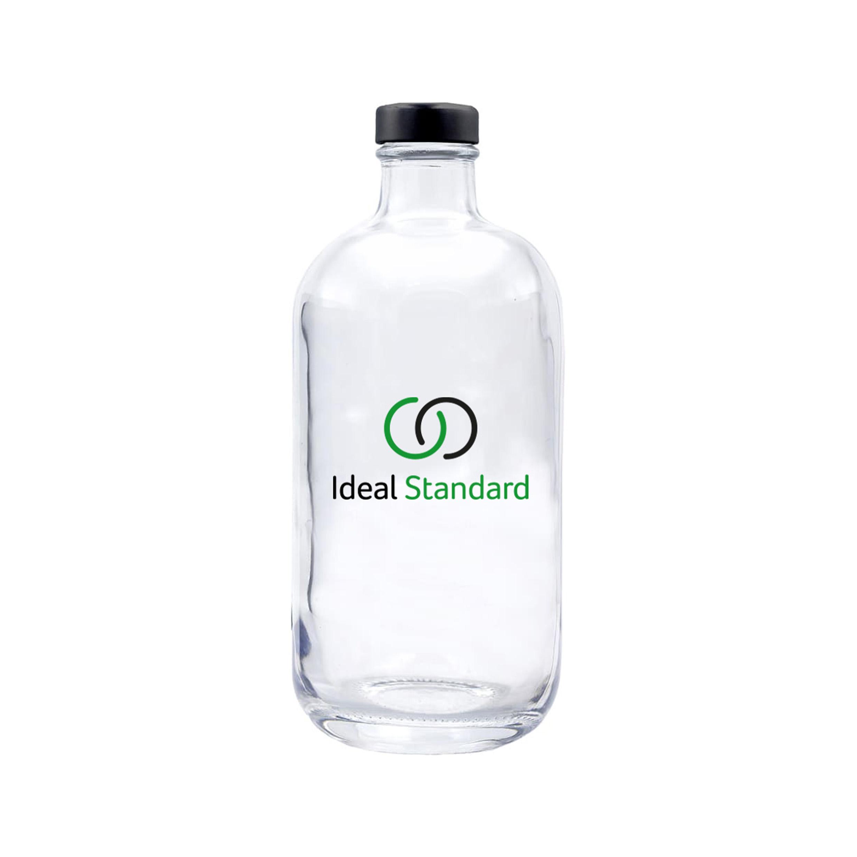 ERA 500. Botella de agua de cristal personalizada 50cl con tapón negro. Marcaje 2 colores