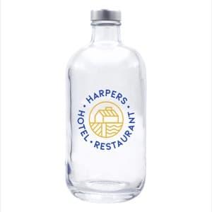 ERA 500. Botella de agua de cristal personalizada 50cl con tapón plateado. Marcaje 2 colores