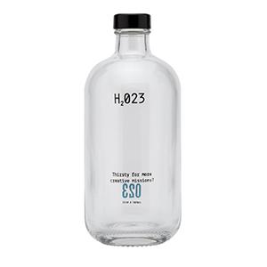 ERA 500. Bouteille d´eau en verre personnalisé avec bouchon noir. Impression deux couleurs